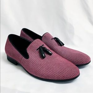 ASHER GREEN Leather Wine Loafer With Tassels